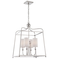 Sylvan 4 Light 22 inch Polished Nickel Chandelier Ceiling Light in Polished Nickel (PN), White Linen