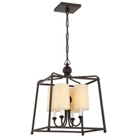 Crystorama 2245-DB Sylvan 4 Light 16 inch Dark Bronze Chandelier Ceiling Light in Dark Bronze (DB) Flax Linen
