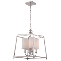Crystorama 2245-PN Sylvan 4 Light 16 inch Polished Nickel Chandelier Ceiling Light in Polished Nickel (PN), White Linen