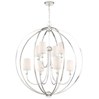 Crystorama 2246-PN Sylvan 8 Light 40 inch Polished Nickel Chandelier Ceiling Light in White Silk
