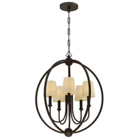 Sylvan 5 Light 23 inch Dark Bronze Chandelier Ceiling Light in Dark Bronze (DB), Flax Linen