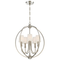 Crystorama 2247-PN Sylvan 5 Light 23 inch Polished Nickel Chandelier Ceiling Light in Polished Nickel (PN), White Silk