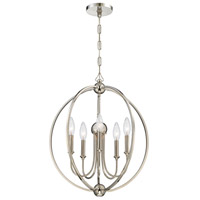 Crystorama 2247-PN_NOSHADE Sylvan 5 Light 23 inch Polished Nickel Chandelier Ceiling Light in Polished Nickel (PN)