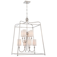 Crystorama 2248-PN Sylvan 8 Light 28 inch Polished Nickel Chandelier Ceiling Light in Polished Nickel (PN), White Linen