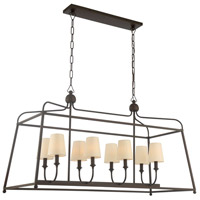 Sylvan 8 Light 18 inch Dark Bronze Chandelier Ceiling Light in Dark Bronze (DB), White Linen