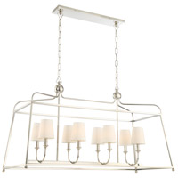 Sylvan 8 Light 18 inch Polished Nickel Chandelier Ceiling Light in Polished Nickel (PN), Flax Linen