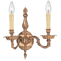 Crystorama Novella 2 Light Wall Sconce in Olde Brass 2402-OB