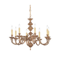 Crystorama Oxford 8 Light Chandelier in Olde Brass 2408-OB