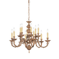Crystorama 2412-OB Oxford 12 Light 30 inch Olde Brass Chandelier Ceiling Light