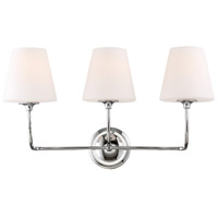 Crystorama 2443-OP-CH Sylvan 3 Light 23 inch Polished Chrome Vanity Light Wall Light in Chrome (CH)