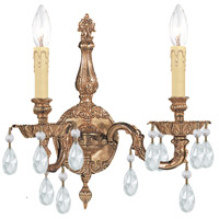 Crystorama 2502-OB-CL-MWP Signature 2 Light 15 inch Olde Brass Wall Sconce Wall Light in Clear Hand Cut
