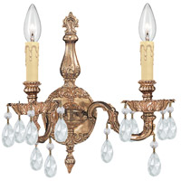 Crystorama Cortland 2 Light Wall Sconce in Olde Brass with Swarovski Elements Crystals 2502-OB-CL-S