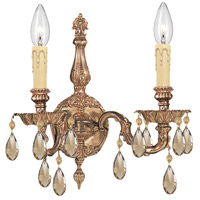 Crystorama 2502-OB-GTS Cast Brass Wall Mount 2 Light 15 inch Olde Brass Wall Sconce Wall Light in Golden Teak Swarovski