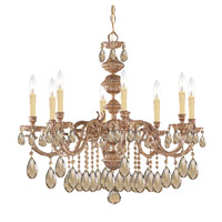 Crystorama Oxford 8 Light Chandelier in Olde Brass, Golden Teak, Hand Cut 2508-OB-GT-MWP photo thumbnail