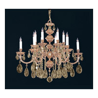 Crystorama Oxford 12 Light Chandelier in Olde Brass, Golden Teak, Hand Cut 2512-OB-GT-MWP