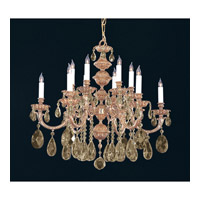 Crystorama Oxford 12 Light Chandelier in Olde Brass, Golden Teak, Swarovski Elements 2512-OB-GTS