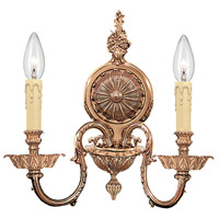 Crystorama Novella 2 Light Wall Sconce in Olde Brass 2602-OB