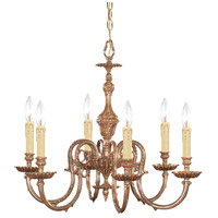 Crystorama 2606-OB Novella 6 Light 25 inch Olde Brass Chandelier Ceiling Light