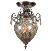 Crystorama Avery 2 Light Semi-Flush Mount in Antique Brass, Cognac, Hand Cut 265-AB-CG-MWP_CEILING