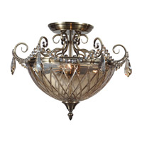 Crystorama Avery 3 Light Semi-Flush Mount in Antique Brass 269-AB-CG-MWP
