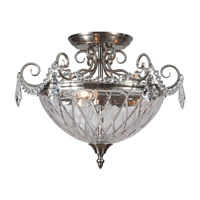 Signature 3 Light 17 inch Polished Chrome Semi Flush Mount Ceiling Light in Clear Crystal (CL), Hand Cut, Polished Chrome (CH)
