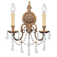 Crystorama Novella 2 Light Wall Sconce in Olde Brass with Hand Cut Crystals 2702-OB-CL-MWP