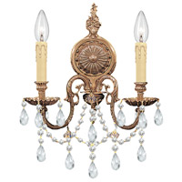 Signature 2 Light 14 inch Olde Brass Wall Sconce Wall Light in Clear Swarovski Strass