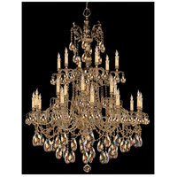 Crystorama Novella 24 Light Chandelier in Olde Brass, Golden Teak, Hand Cut 2724-OB-GT-MWP