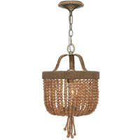 Crystorama Eva 1 Light Chandelier in Burnished Silver 273-BS