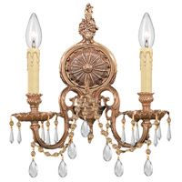 Crystorama 2802-OB-CL-MWP Signature 2 Light 14 inch Olde Brass Wall Sconce Wall Light in Clear Hand Cut