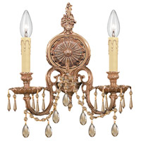 Crystorama 2802-OB-GTS Signature 2 Light 14 inch Olde Brass Wall Sconce Wall Light in Golden Teak Swarovski