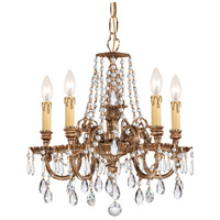 Crystorama 2805-OB-CL-MWP Novella 5 Light 18 inch Olde Brass Chandelier Ceiling Light in Clear Hand Cut