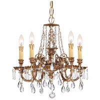 Crystorama 2805-OB-CL-S Novella 5 Light 18 inch Olde Brass Chandelier Ceiling Light in Clear Swarovski Strass