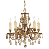 Crystorama 2805-OB-GT-MWP Novella 5 Light 18 inch Olde Brass Mini Chandelier Ceiling Light in Hand Cut