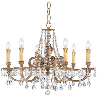 Crystorama Novella 6 Light Chandelier in Olde Brass 2806-OB-CL-SAQ