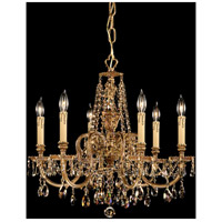 Crystorama 2806-OB-GT-MWP Novella 6 Light 25 inch Olde Brass Chandelier Ceiling Light in Golden Teak (GT), Hand Cut