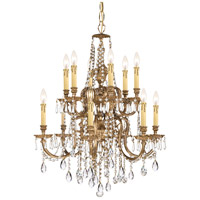 Crystorama 2812-OB-CL-MWP Novella 12 Light 26 inch Olde Brass Chandelier Ceiling Light in Clear Hand Cut