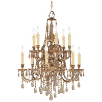 Crystorama 2812-OB-GT-MWP Novella 12 Light 26 inch Olde Brass Chandelier Ceiling Light in Hand Cut