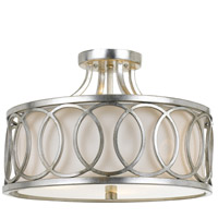 Graham 3 Light 15 inch Antique Silver Semi Flush Mount Ceiling Light