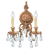Crystorama 2902-OB-CL-MWP Signature 2 Light 14 inch Olde Brass Wall Sconce Wall Light in Clear Hand Cut