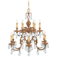Crystorama Novella 12 Light Chandelier in Olde Brass, Hand Cut 2912-OB-CL-MWP