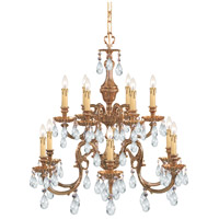 Crystorama Novella 12 Light Chandelier in Olde Brass with Swarovski Spectra Crystals 2912-OB-CL-SAQ
