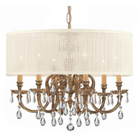 Crystorama Brentwood 6 Light Chandelier in Olde Brass, Clear Crystal, Hand Cut, Pleated Antique White 2916-OB-SAW-CLM