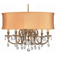 Crystorama 2916-OB-SHG-CLM Brentwood 6 Light 26 inch Olde Brass Chandelier Ceiling Light