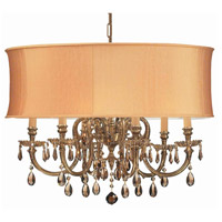 Crystorama 2916-OB-SHG-GTS Brentwood 6 Light 26 inch Olde Brass Chandelier Ceiling Light in Golden Teak Swarovski