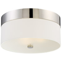 Grayson 3 Light 16 inch Polished Nickel Flush Mount Ceiling Light in Polished Nickel (PN), White Silk