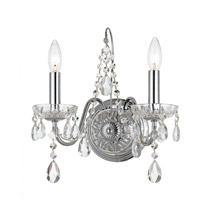 Crystorama 3022-CH-CL-MWP Butler 2 Light 13 inch Polished Chrome Wall Sconce Wall Light in Chrome (CH)