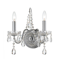 Traditional Crystal 2 Light 13 inch Polished Chrome Wall Sconce Wall Light in Polished Chrome (CH)