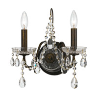 Traditional Crystal 2 Light 13 inch English Bronze Wall Sconce Wall Light in English Bronze (EB)