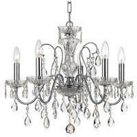 Crystorama 3025-CH-CL-MWP Butler 5 Light 23 inch Polished Chrome Chandelier Ceiling Light in Chrome (CH)